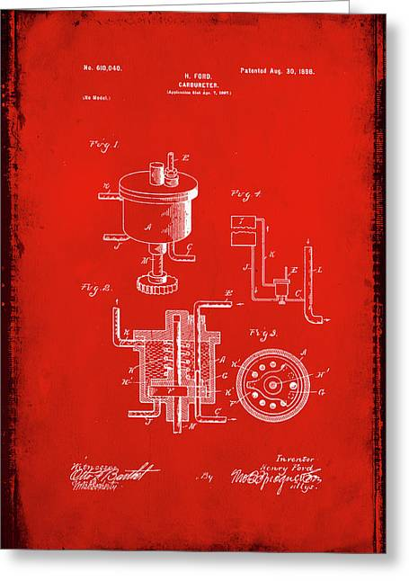 Carbureter Patent Drawing 1f Greeting Card by Brian Reaves
