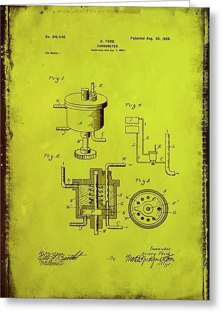 Carbureter Patent Drawing 1g Greeting Card by Brian Reaves