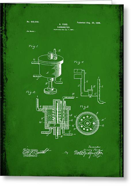 Carbureter Patent Drawing  Greeting Card by Brian Reaves