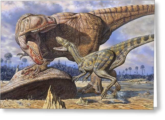 Carcharodontosaurus Guards Its Kill Greeting Card by Mark Hallett