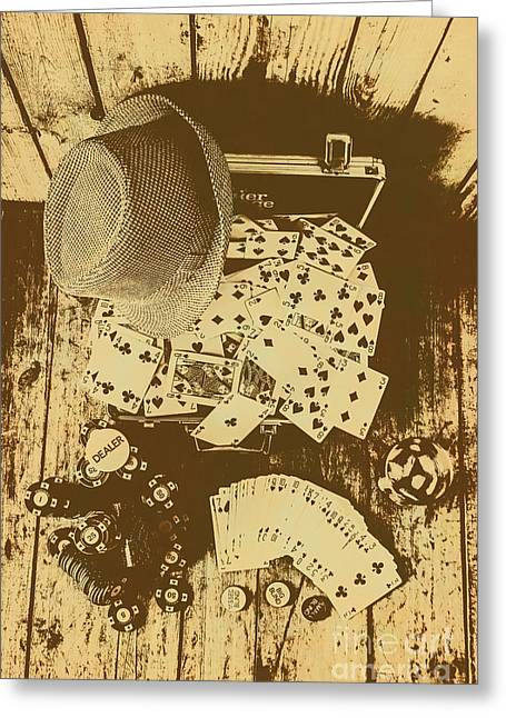 Card Games And Vintage Bets Greeting Card by Jorgo Photography - Wall Art Gallery