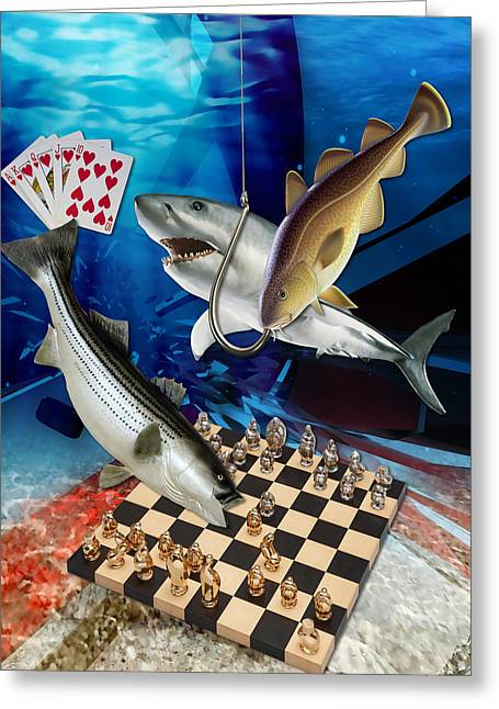 Card Shark And One On The Hook Greeting Card