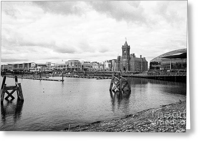 Cardiff Bay Waterfront On An Overcast Day Wales United Kingdom Greeting Card by Joe Fox