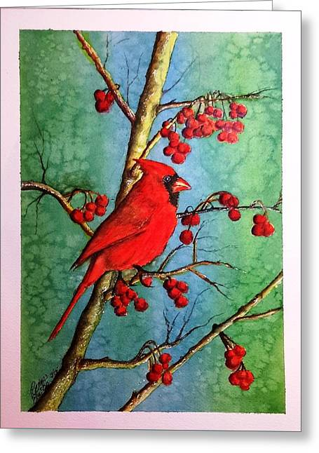 Cardinal And Berries Greeting Card by Richard Benson