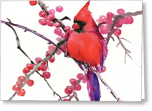 Cardinal And Berries Greeting Card