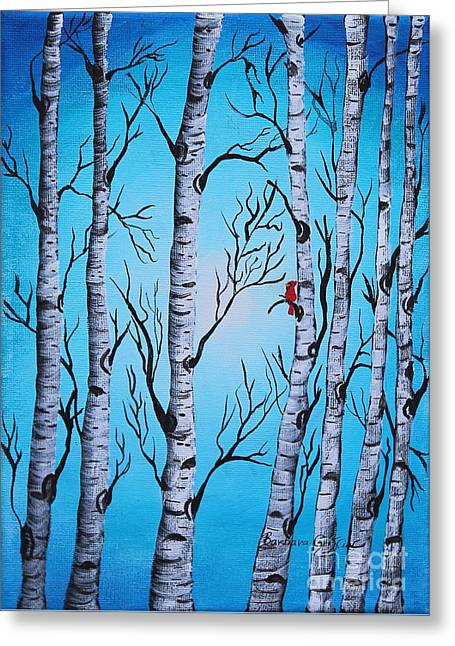 Cardinal And Birch Trees Greeting Card