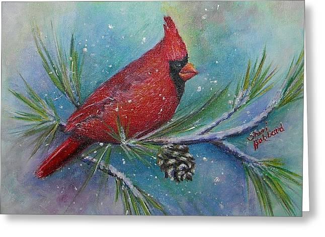 Cardinal And Delta Snow Greeting Card by Sheri Hubbard