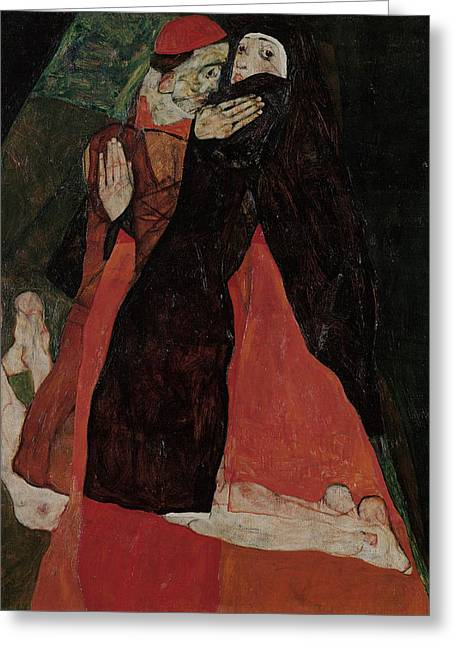 Cardinal And Nun  Greeting Card by Egon Schiele