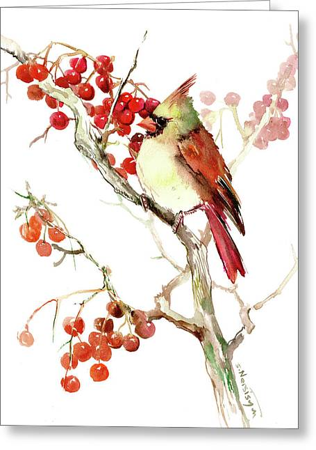 Cardinal Bird And Berries Greeting Card