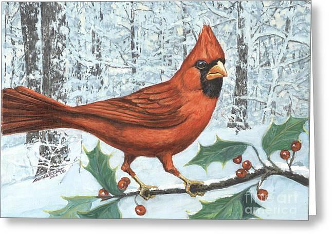 Cardinal Bird Greeting Card by Don Langeneckert