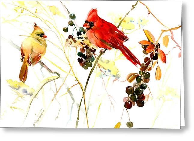 Cardinal Birds And Berries Greeting Card
