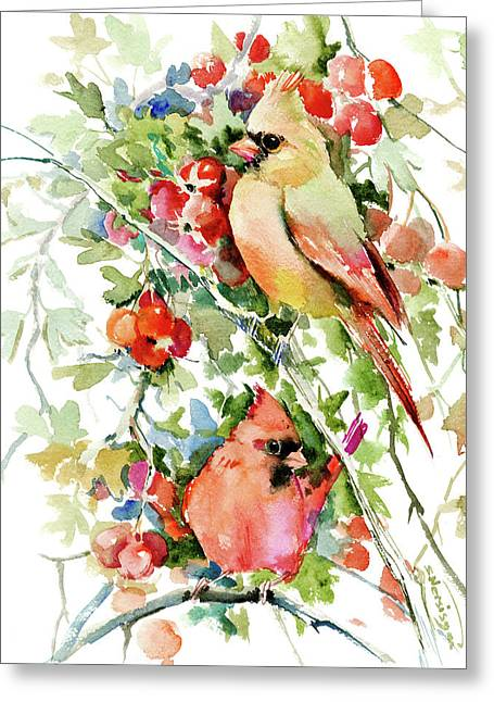 Cardinal Birds And Hawthorn Greeting Card