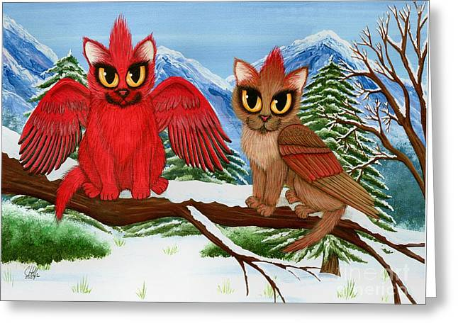 Greeting Card featuring the painting Cardinal Cats by Carrie Hawks