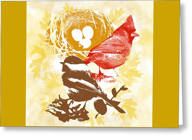 Cardinal Chickadee Birds Nest With Eggs Greeting Card