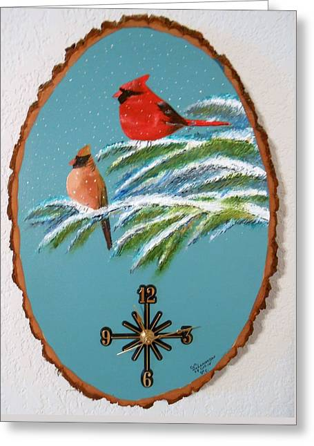 Cardinal Clock Greeting Card