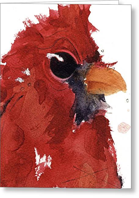 Greeting Card featuring the painting Cardinal by Dawn Derman