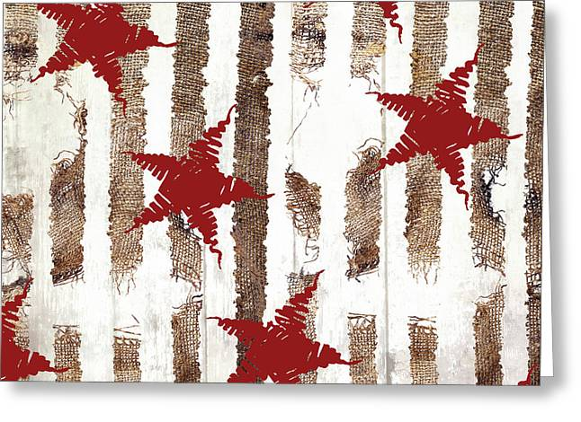 Cardinal Holiday Burlap Star Pattern Greeting Card
