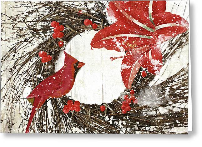 Cardinal Holiday I Greeting Card by Mindy Sommers