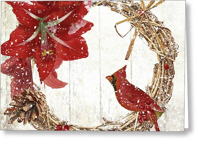 Cardinal Holiday II Greeting Card by Mindy Sommers