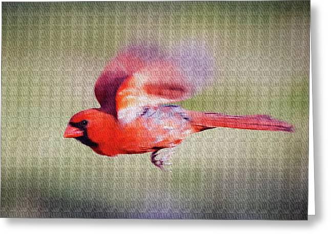 Cardinal In Flight- Paint Fx Greeting Card