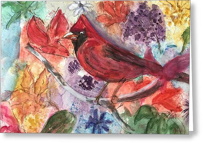 Cardinal In Flowers Greeting Card
