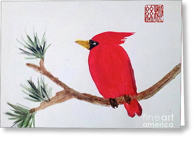 Cardinal In My Backyard Greeting Card