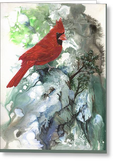 Greeting Card featuring the painting Cardinal by Sherry Shipley