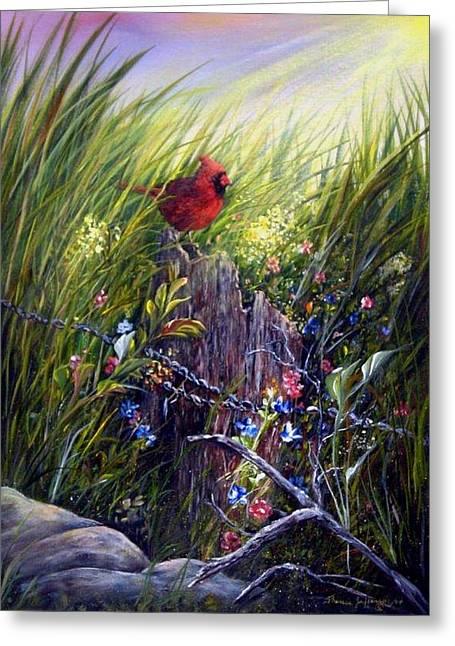 Cardinal Greeting Card by Theresa Jefferson