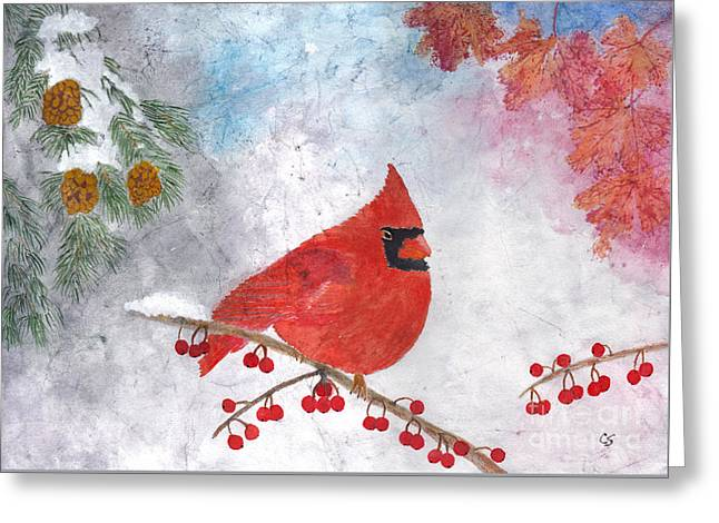 Cardinal With Red Berries And Pine Cones Greeting Card