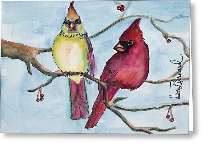 Cardinals Greeting Card by Dale Bernard