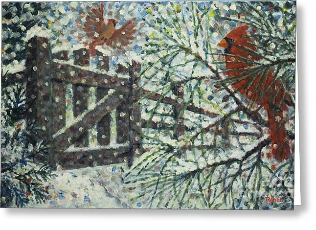 Cardinals I I / Garden Gate Greeting Card by Jim Rehlin
