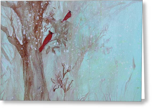 Greeting Card featuring the painting Cardinals In Trees Whilst Snowing by Robin Maria Pedrero