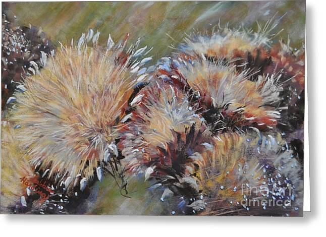 Golden Brown Pastels Greeting Cards - Cardoon  Greeting Card by Debbie Harding
