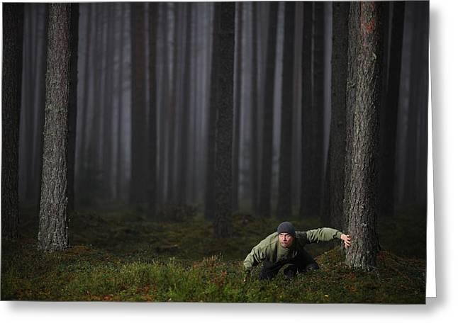 Carefully Through The Mist Greeting Card by Kaspars Kurcens