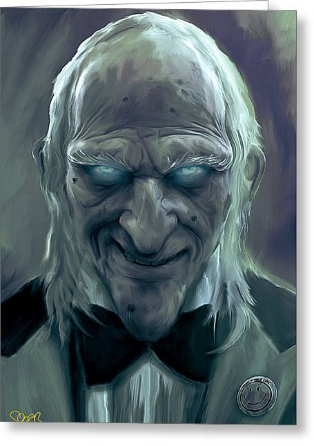 Caretaker Of Dracula's Castle Mark Spears Monsters Greeting Card by Mark Spears