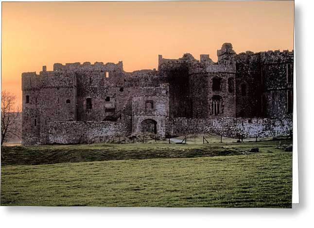 Carew Castle Coral Sunset Greeting Card by Steve Purnell
