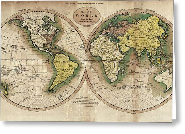 Greeting Card featuring the photograph Carey's Map Of The World  1795 by Daniel Hagerman