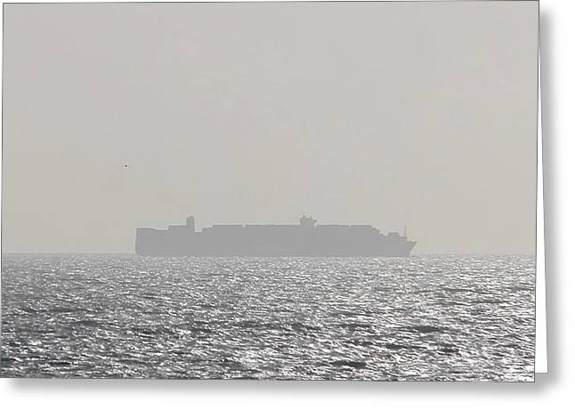 Greeting Card featuring the photograph Cargo Au Large by Marc Philippe Joly