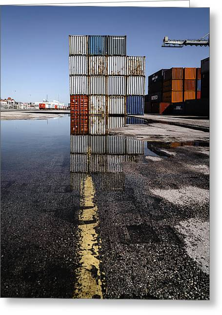 Cargo Containers Reflecting On Large Puddle II Greeting Card