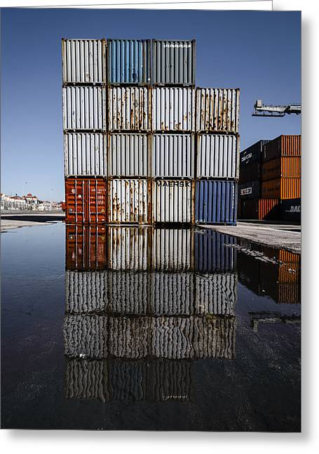 Cargo Containers Reflecting On Large Puddle IIi Greeting Card