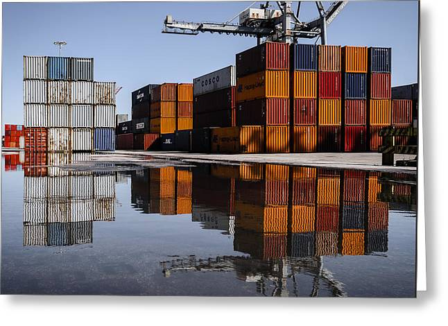Cargo Containers Reflecting On Large Puddle Greeting Card