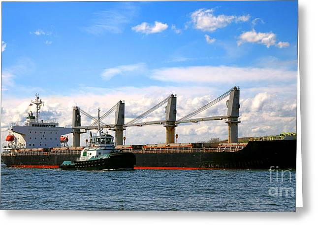 Cargo Ship And Tugboats  Greeting Card