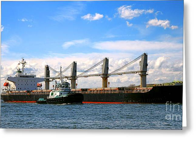 Cargo Ship And Tugboats  Greeting Card by Olivier Le Queinec