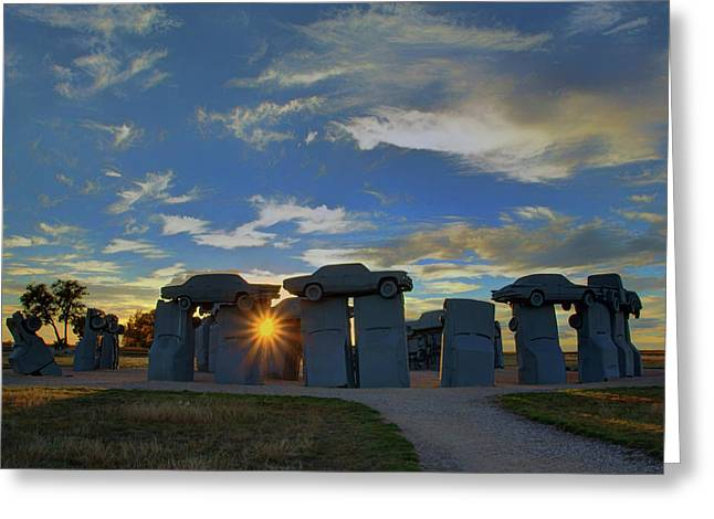 Carhenge - Nebraska - Sunset Greeting Card by Nikolyn McDonald