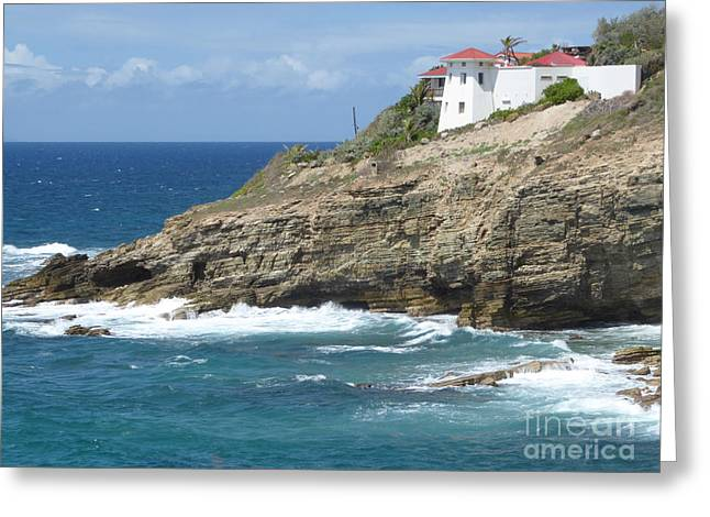 Caribbean Coastal Villa Greeting Card