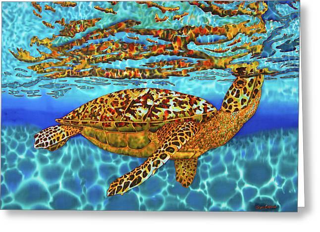 Caribbean Hawksbill Sea Turtle Greeting Card by Daniel Jean-Baptiste