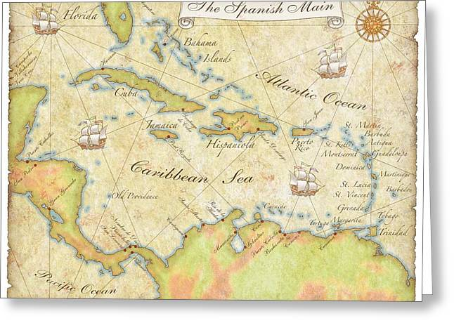 Caribbean Map - Good Greeting Card