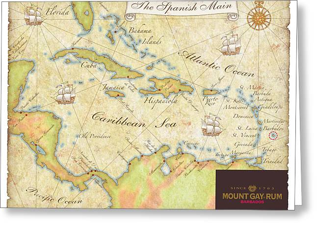 Caribbean Map II Greeting Card