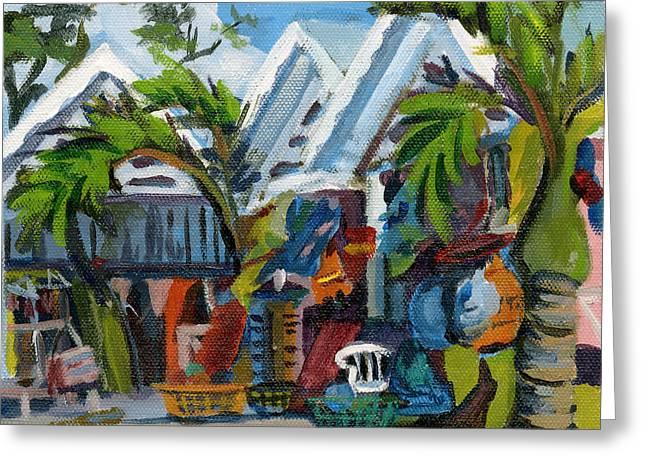 Caribbean Outdoor Market Greeting Card by J R Baldini