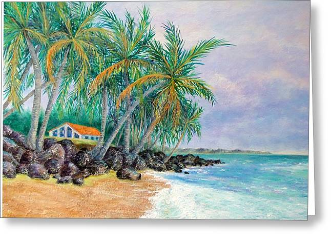Greeting Card featuring the painting Caribbean Retreat by Susan DeLain